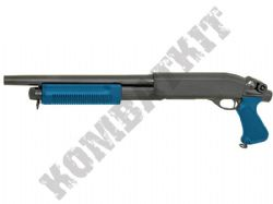CM351M Metal BB Gun Short Barrel 870 Breacher Tri Shot Pump Action Airsoft Shotgun 2 Tone Blue